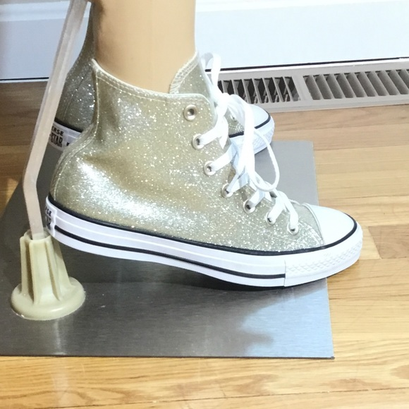 discount for sale price reduced shop for Brand New,Glittery Gold Converse High Top Sneakers